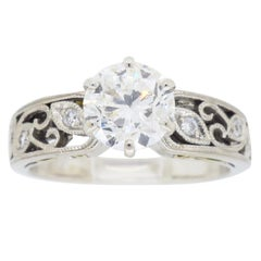 Simon G GIA Certified 1.01 Carat Round Brilliant Cut Diamond Engagement Ring