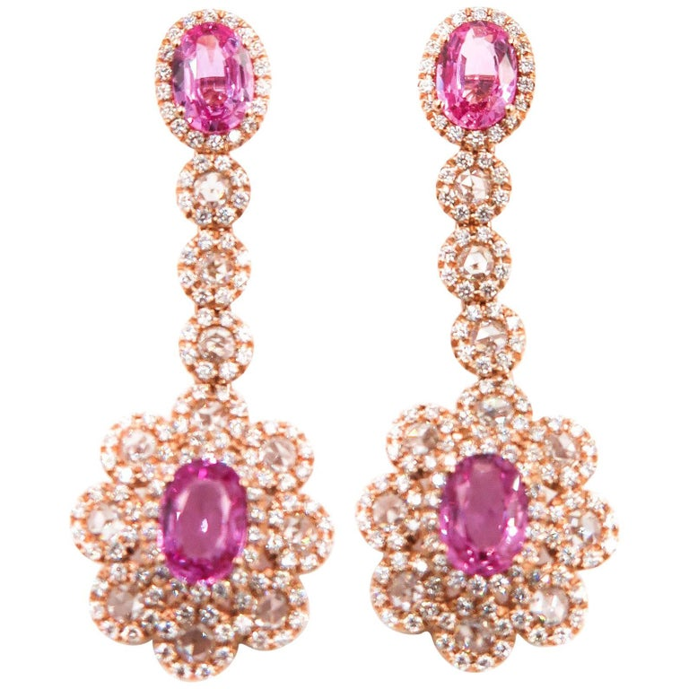 pink sapphire and diamonds rose gold drop earrings for