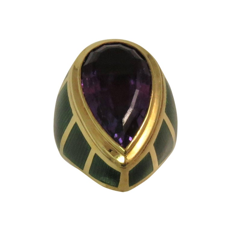 Green Enamel Faceted Amethyst Ring