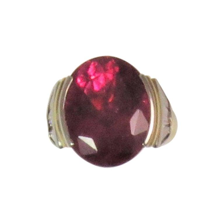 Susan Berman 18 Karat Yellow Gold and Platinum Ring with Rubellite and Diamonds