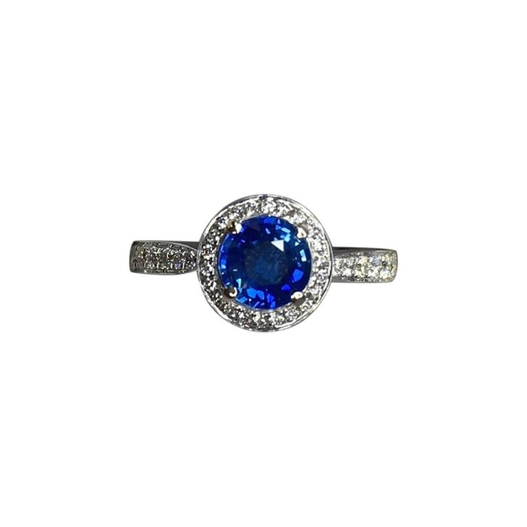 1.30 Carat Ceylon Blue Sapphire and Diamond Halo Ring 18 Karat White Gold 1