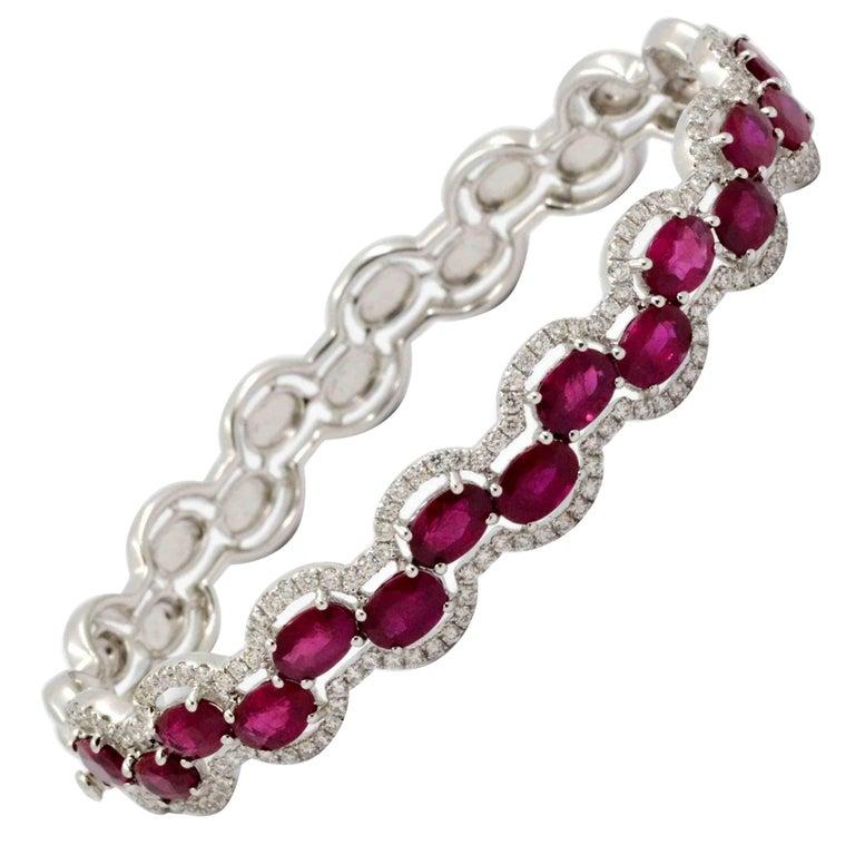 Butani Ruby and Diamond 18 Karat White Gold Bangle Bracelet