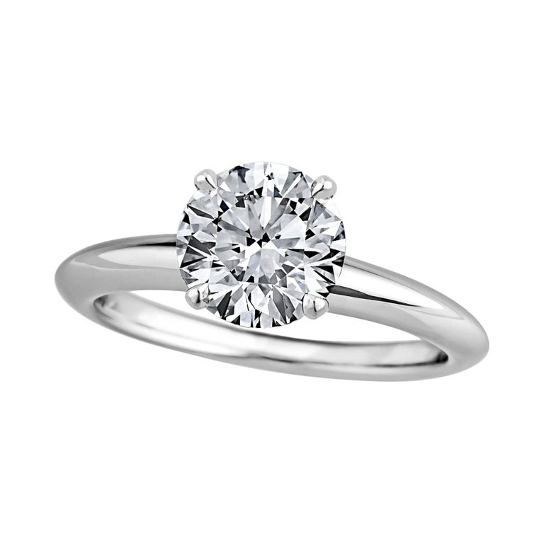 GIA Certified 1.71 Carat Ideal Cut Round Brilliant Diamond Engagement Ring