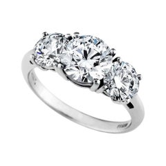 GIA Certified Round Brilliant Ideal Cut Diamond Three-Stone Engagement Ring