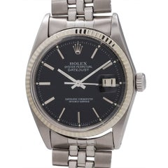 Rolex White Gold Black Pie Pan Dial Datejust Wristwatch Ref 1601, circa 1965