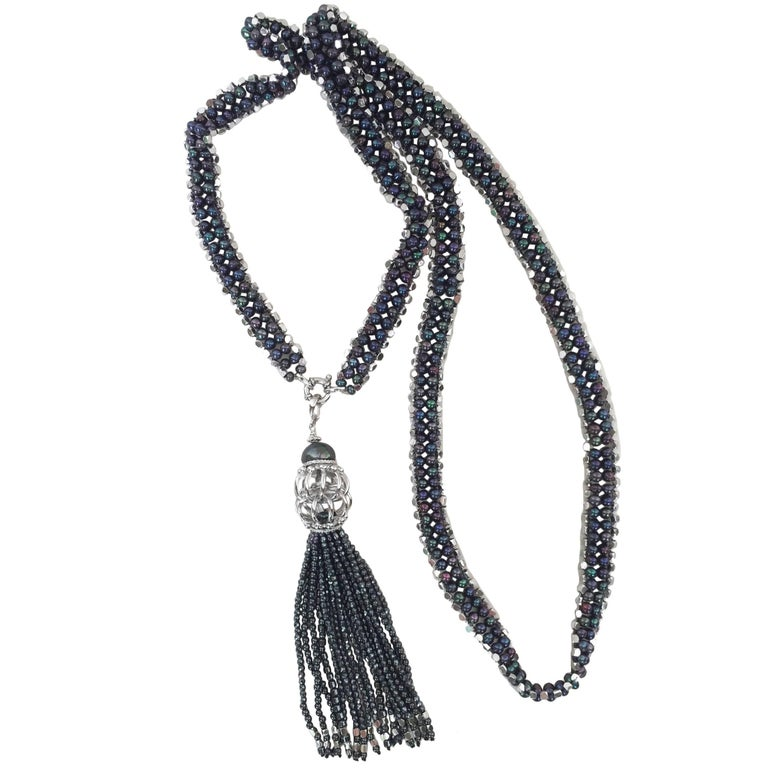 Marina J Black Pearl, Hematite and Rhodium Sterling Silver Beaded Sautoir