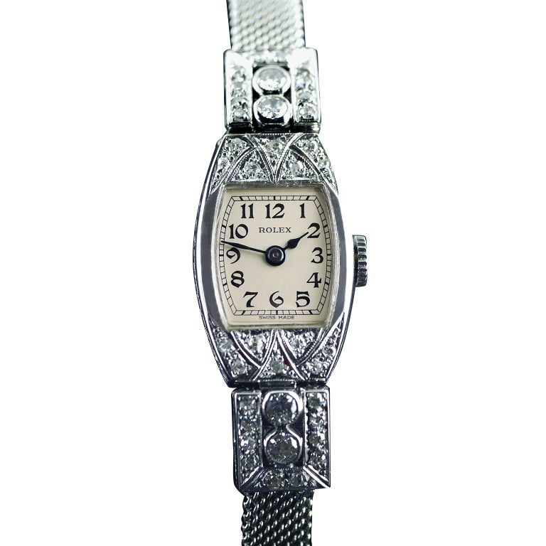 Rolex White Gold Diamond Art Deco Wristwatch, 1926