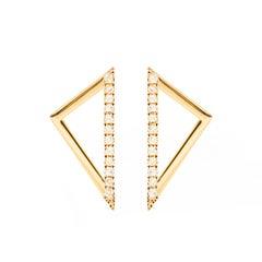 Sophie Birgitt Diamond Triangular Gold Earrings