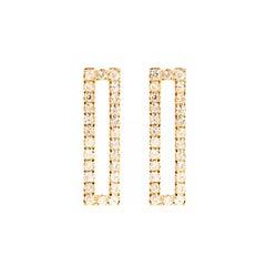 Sophie Birgitt Diamond Rectangular Gold Earrings