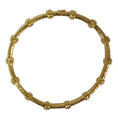 Henry Dunay 18 Karat Yellow Gold Faceted Finish Necklace
