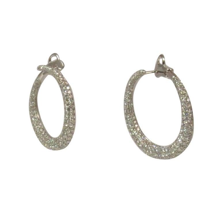 Wrap Around Pave Diamond White Gold Hoop Earrings