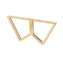 Sophie Birgitt Double Diamond Geometric Double Finger Ring