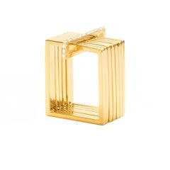 Sophie Birgitt Geometric Rectangular Gold Cocktail Ring