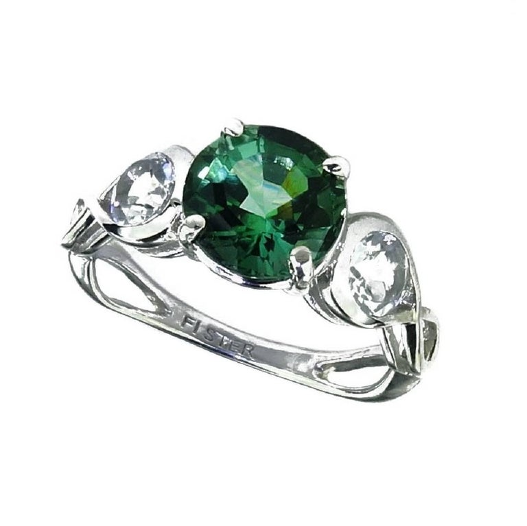 Brazilian Round Green/Blue Tourmaline Ring with White Topaz in Sterling Silver