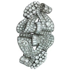 Art Deco Diamond Scroll Platinum Double Clip Brooch