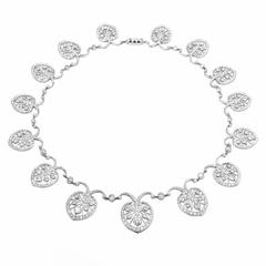 Art Deco Diamond Platinum Filigree Necklace