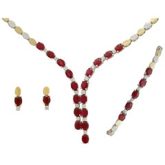 1990s 12.48 Carat Ruby and Diamond Yellow and White Gold Jewelry Suite