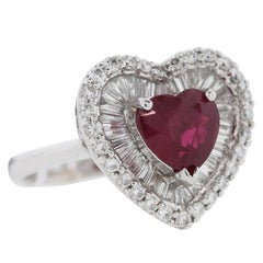 GIA Certified 2.57 Carat Burma Heart Shape Ruby Diamond Platinum Ring