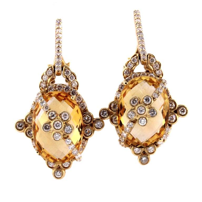Citrine Diamond Gold Drop Earrings