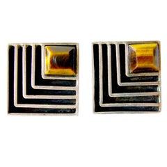 Cecilia Toño Sterling Silver Tiger Eye Geometric Modern Cufflinks