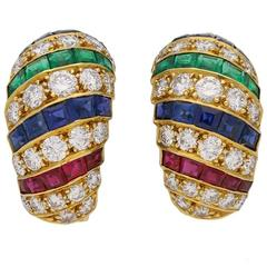 Cartier London Diamond Emerald Ruby Gold Earrings