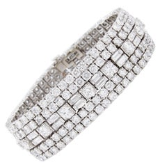 Magnificent David Webb Baguette Round Diamond Bracelet