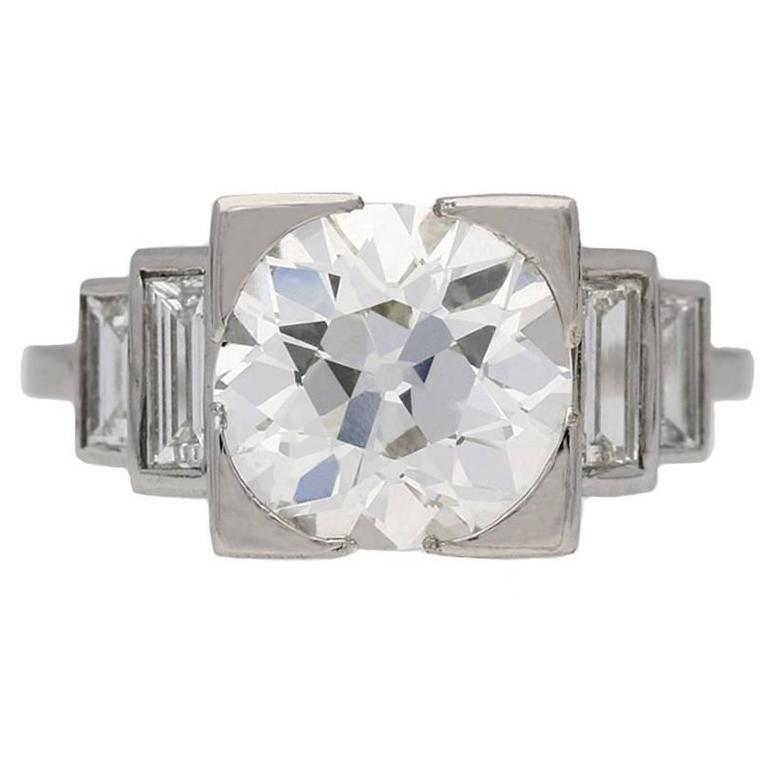 Art Deco solitaire diamond engagement ring, English, circa 1930.