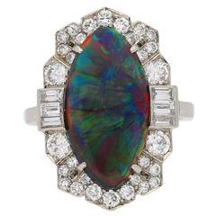 Superb Art Deco Black Opal Diamond Ring, circa 1935
