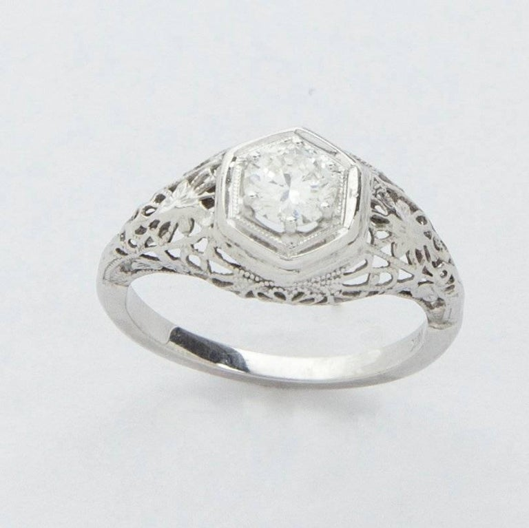 Art Deco 0 45 Carat Diamond Filigree Platinum Engagement Ring For Sale at 1st
