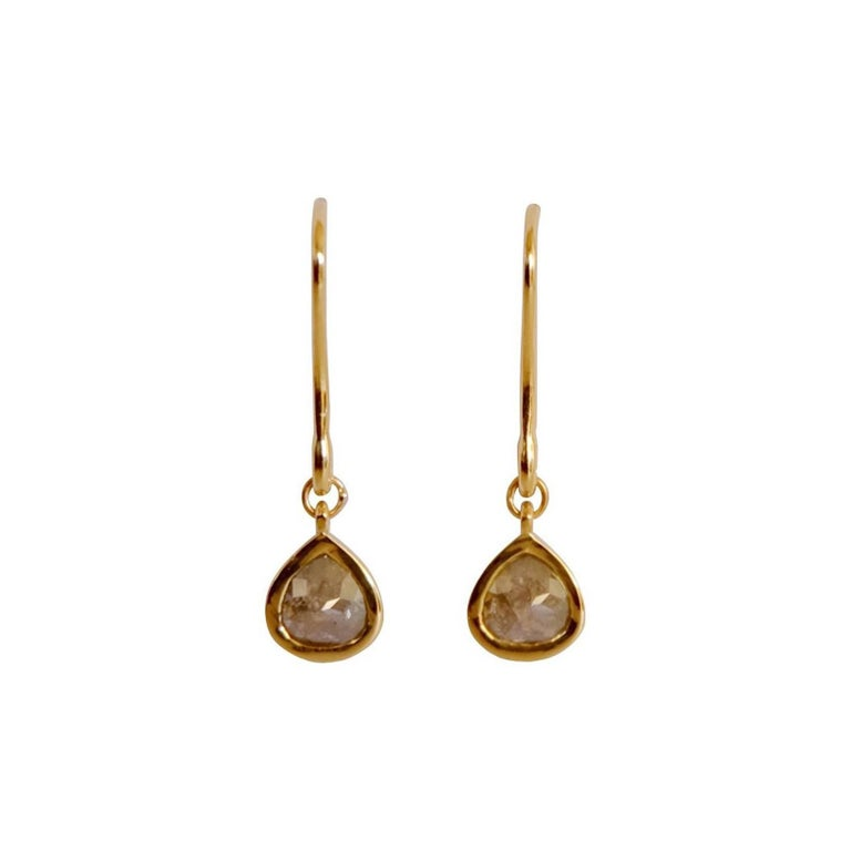Luca Jouel Reveur Rose Cut Pear Diamond Gold Drop Earrings
