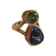 Engagement Eternity Ring Blue Sapphire Drop Peridot Gold Indian Stars