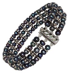 Marina J Black Pearl and Silver Bracelet