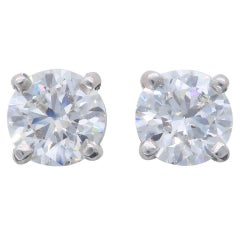 Certified Hearts on Fire Diamond Stud Earrings in Platinum