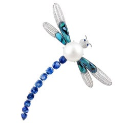 Ella Gafter Sapphire Diamond Pearl Dragonfly Brooch Pin