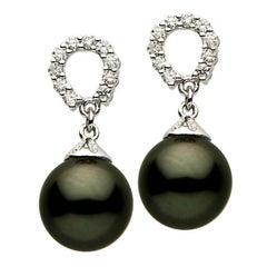 Tahitian Pearl Diamond Earrings in White Gold