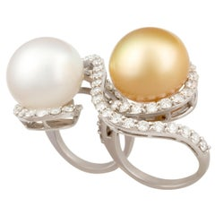 Ella Gafter Two Finger Pearl and Diamond Ring
