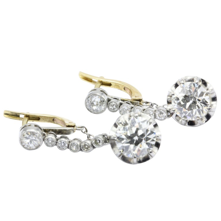 Edwardian 4.58 Carat Drop Diamond Earrings 1