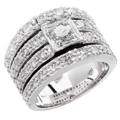 2.55 Carat Four Row Diamond Gold Band Ring