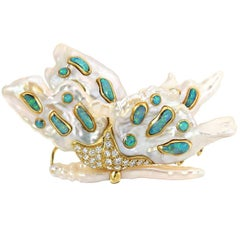 Precious Butterfly Fancy Pearls Opals Diamonds Yellow Gold Brooch Art Piece