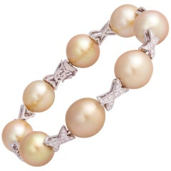 Ella Gafter Art Deco Style Golden South Sea Pearl Diamond White Gold Bracelet