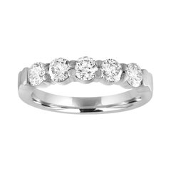 1.00 Carat Diamond Platinum Five Stone Half Band Ring