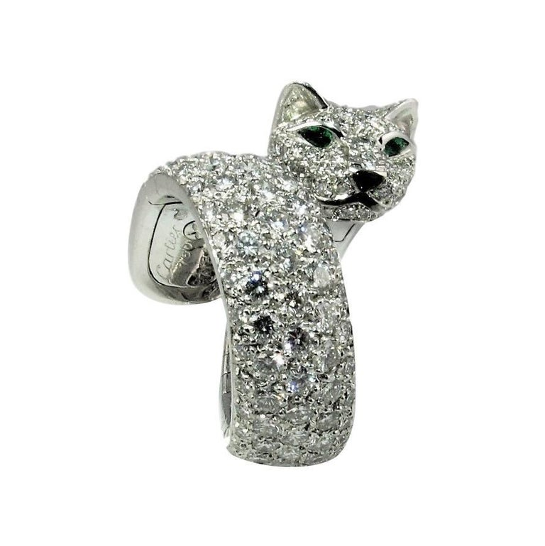 Cartier Diamond size 6 1/2 'Panthere de Cartier' White Gold Ring.  For Sale