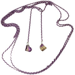 Lariat of Purple/Silver Color Chain andTwo Sparkling Faceted Brazilian Ametrine