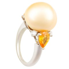 Ella Gafter Golden Pearl Yellow Sapphire Diamond Cocktail Ring
