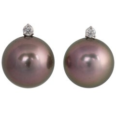 Ella Gafter Black Tahitian Pearl and Diamond White Gold Clip Earrings