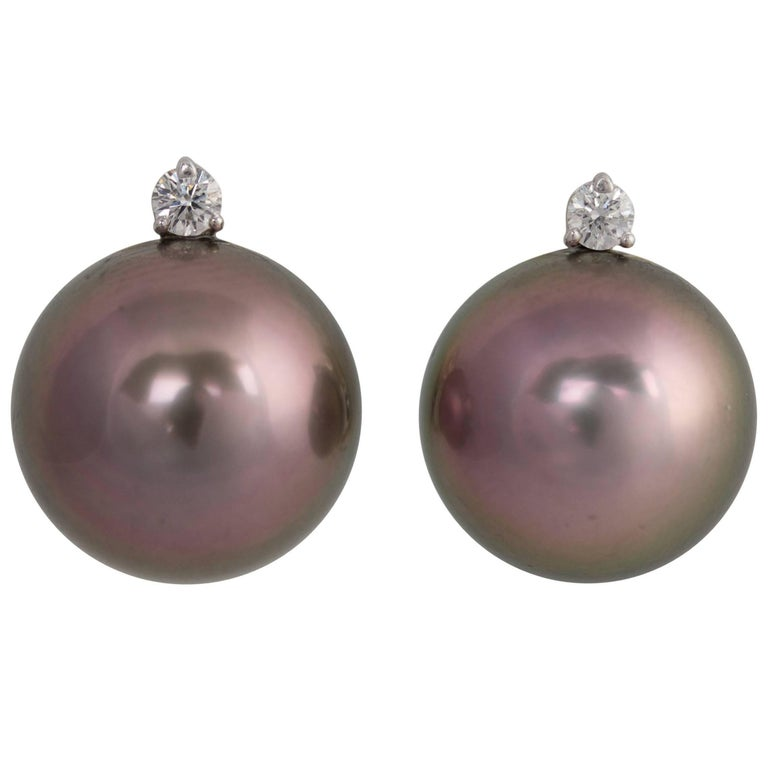 Ella Gafter Black Tahitian Pearl and Diamond Clip-on Earrings White Gold