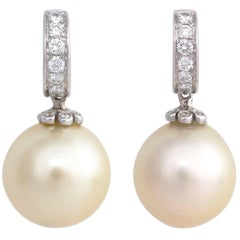 Ella Gafter Golden South Sea Pearl and Diamond White Gold Hoop Drop Earrings