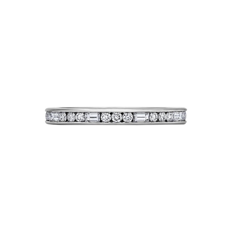 Baguette and Round Cut Diamond Band Platinum Ring