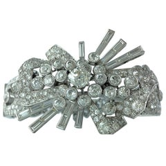 Art Deco Diamond and Platinum Bracelet Brooch Combination