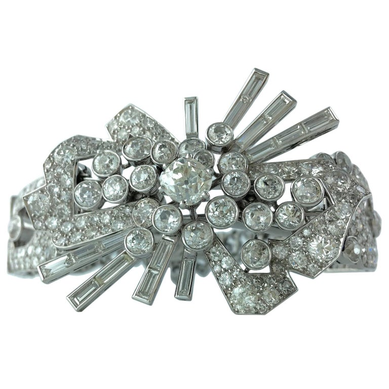Art Deco Diamond and Platinum Bracelet Brooch Combination For Sale